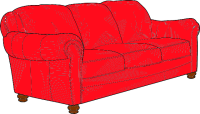 Möbelspedition - ein rotes Sofa